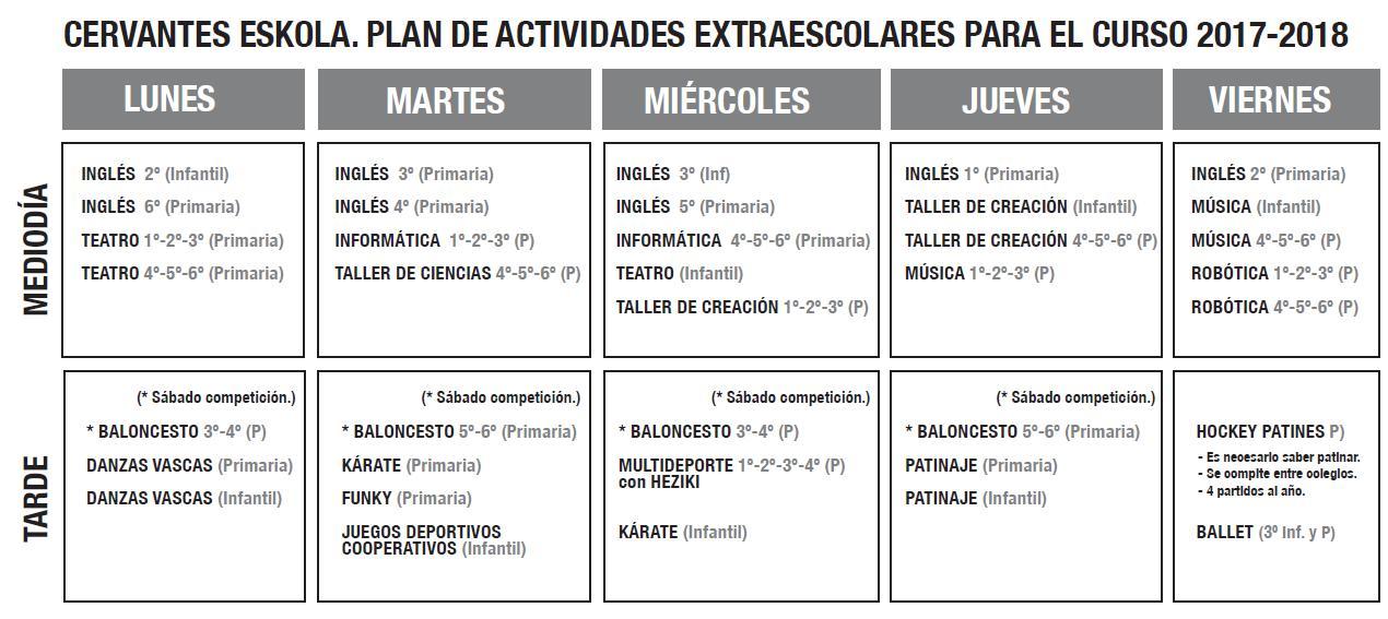 HORARIO EXTRAESCOLARES 2017-2018
