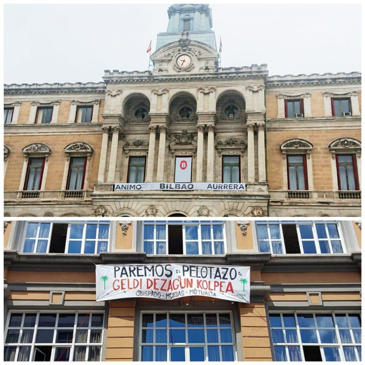 Pancarta en el edificio del ayuntamiento de Bilbao (arriba) y pancarta que no quieren que veas en la fachada de colegio Cervantes (abajo).